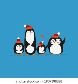 Funny Penguins family. Sketch for your design. Vector illustration