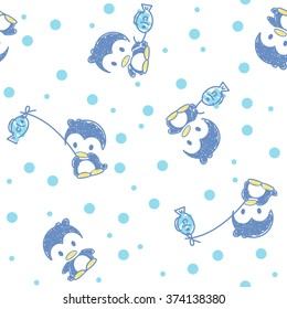 funny penguins on a  background with Polka dots
