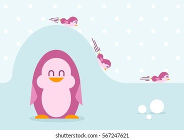 Funny penguins - play on the hill - vector illustration