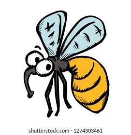 funny pensive wasp or bee. vector illustration.