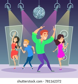 Funny people dancing on dance floor. Man and woman on disco party. Vector illustration