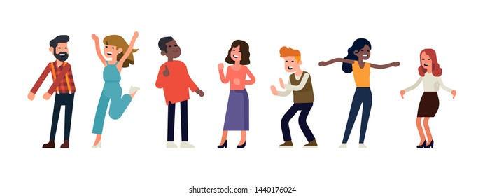 Funny people dancing. Set of partying people having great time. Positive emotions concept vector illustration with group of characters enjoying themselves