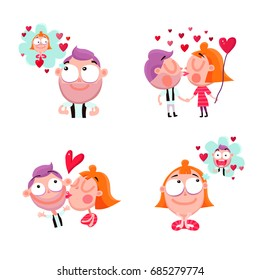 Funny people in love 2x2 stickers set with red hearts isolated on white background cartoon vector illustration