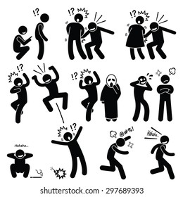Funny People Prank Playful Actions Stick Figure Pictogram Icons