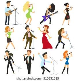 funny people sing into the microphone. budding artists, rock musicians, opera divas and other artists isolated on white background. vector illustration.