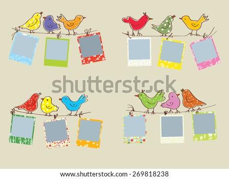 Funny Photo Frames Birds Patterns Set Stock Vector (Royalty Free ...