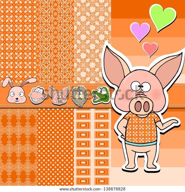 Vector De Stock Libre De Regalías Sobre Funny Pig Baby