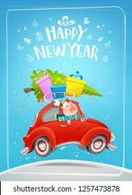 Funny Pig naive art cartoon character driving red car with christmas tree and gift boxes. Happy New Year illustration with Cute Pig character. Vector template for vertical New Year card