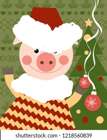 Funny pig on new year background