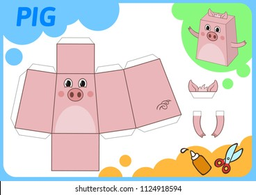 Funny Pig paper model. Small home craft project, paper game. Cut out, fold and glue. Cutouts for children. Vector template.