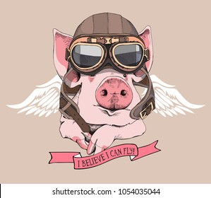 Funny Pig in a retro leather aviator helmet and with a wings on a beige background. Vector illustration.