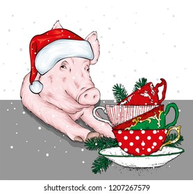 Funny pig in a Santa Claus hat with cups, Christmas balls and Christmas tree branches. Vector illustration for greeting card or poster, print on clothes. New Year's and Christmas. Santa Claus.