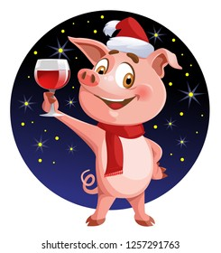 Funny pig as symbols of New Year 2019 giving a toast. Christmas card against the background of starry sky. Cartoon styled vector illustration. Elements is grouped. No transparent objects.
