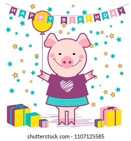 funny pig, vector illustration