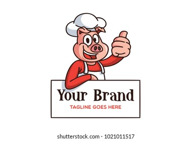 funny pig wearing costume and hat chef. logo. vector illustration. cartoon. editable
