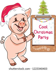 Funny piggy invites to the Christmas party. Vector