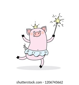 Funny piggy princess,jumping pig ballerina with a crown and a magic wand,cute vector illustration
