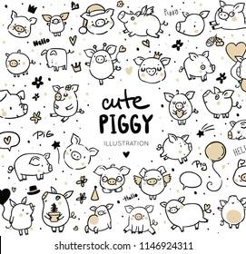 Funny pigs/ new year 2019 symbols