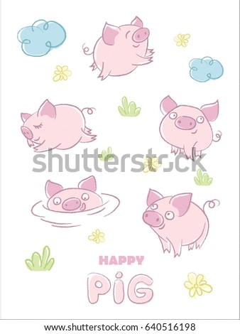 funny pigs vector pig characters different stock vector royalty