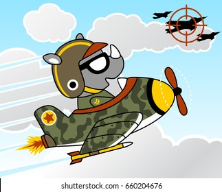 Funny pilot cartoon on military plane cartoon, air combat, vector cartoon illustration