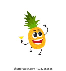 Funny pineapple character with human face and cocktail glass having fun at party, cartoon vector illustration isolated on white background. Pineapple character dancing at party with cocktail glass