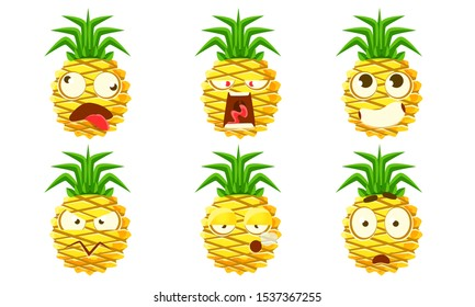 Funny Pineapple Character Set, Cute Tropical Fruit Emojis with Various Facial Expressions Vector Illustration