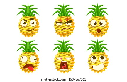 Funny Pineapple Character Set, Cute Tropical Fruit Emojis with Various Expressions Vector Illustration
