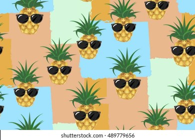 Funny pineapple in glasses.Seamless pattern.Cute vector background.