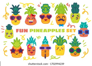 Funny pineapple hand drawn stickers set. Cute tropical fruits with various facial expressions
