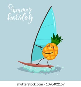 Funny Pineapple on windsurfing. Vector cartoon character of cute fruit of summer water activities. Illustration of sport and healthy lifestyle.
