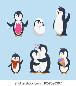 Funny pinguins in different action poses. Cartoon mascots isolate. Penguin animal bird character, happy penguin. Vector illustration