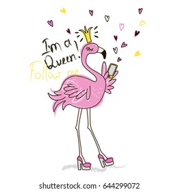 Funny pink flamingo with phone. Vector doodle graphic. Illustration for fashion design.