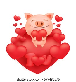 Funny pink pig cartoon character standing on heart. Vector illustration
