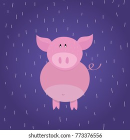 Funny pink pig, piggy. Childish cartoon character on blue background, flat design. Perfect for children, cards, textiles, posters.