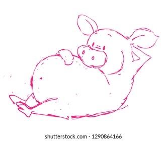 Funny Pink Pig Vector Illustration