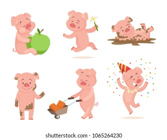 Funny pink pigs playing games. Cartoon pig fun and smile, piglet drawing characters. Vector illustration