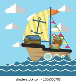 Funny pirate bear sailors cartoon on travel to treasure island with sailboat
