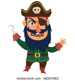 Funny pirate captain cartoon clip art illustration on white background