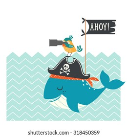 Funny pirate card with whale, parrot and copy space.