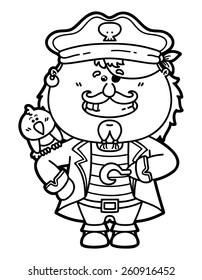 Illustration Skull Captain Cap Beard Mustache Stock Vector Royalty