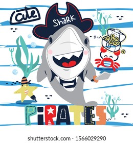 Funny pirate shark cartoon with little friends under the sea on blue and white striped background illustration vector.