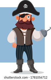 Funny Pirate Vector Cartoon Illustration. Sea bandit mascot character with eye patch and hook