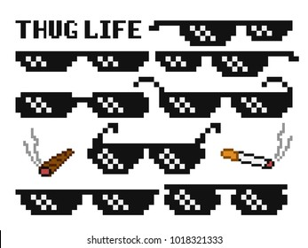 Funny pixelated boss sunglasses. Gangster, thug glasses and cigar vector set. Illustration of glasses pixel and cigarette 8bit style
