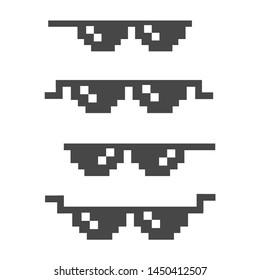 Funny pixelated sunglasses. 8bit style sunglasses vector icon