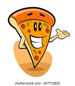 Funny Pizza Slice Cartoon
