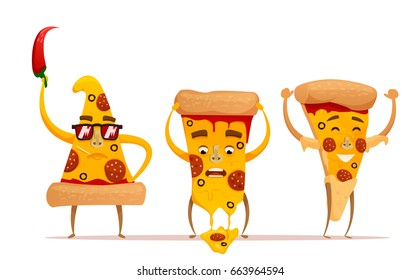 Funny Pizza slice. Cute pizza character set isolated on white background  . Fast food characters