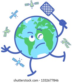 Funny planet Earth in minimalist cartoon style desperately chasing satellites with a fly swatter. It feels mad and disquiet while trying to get rid of several objects in orbit around it