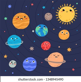 Funny planets of Solar system and Sun with smiling faces. Adorable celestial bodies in outer space. Cute astronomical objects on their orbit in galaxy. Flat cartoon colorful vector illustration.