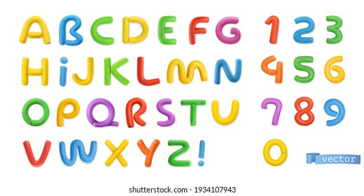 Funny plasticine, alphabet letters and numbers 3d vector realistic set