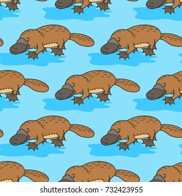 Funny platypus. Australian wild  animal. Happy cartoon. vector illustration for children. Seamless pattern.Cute Character on a blue background.Print for textile, paper, scrapbooking, wallpapers.